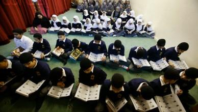 Muslim Children Read Koran in School